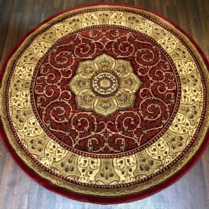 STUNNIG 150X150CM CIRCLE RUGS WOVEN BACK HAND CARVED RED NEW RANGES RUGS/MATS